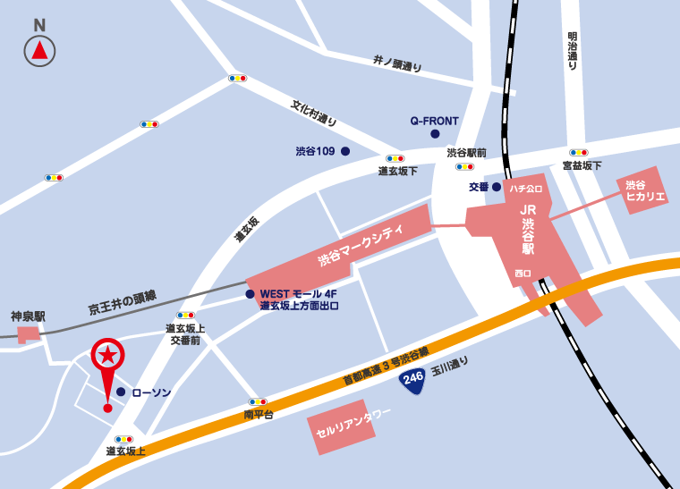最寄の駅からサイバーテック 本社までの地図